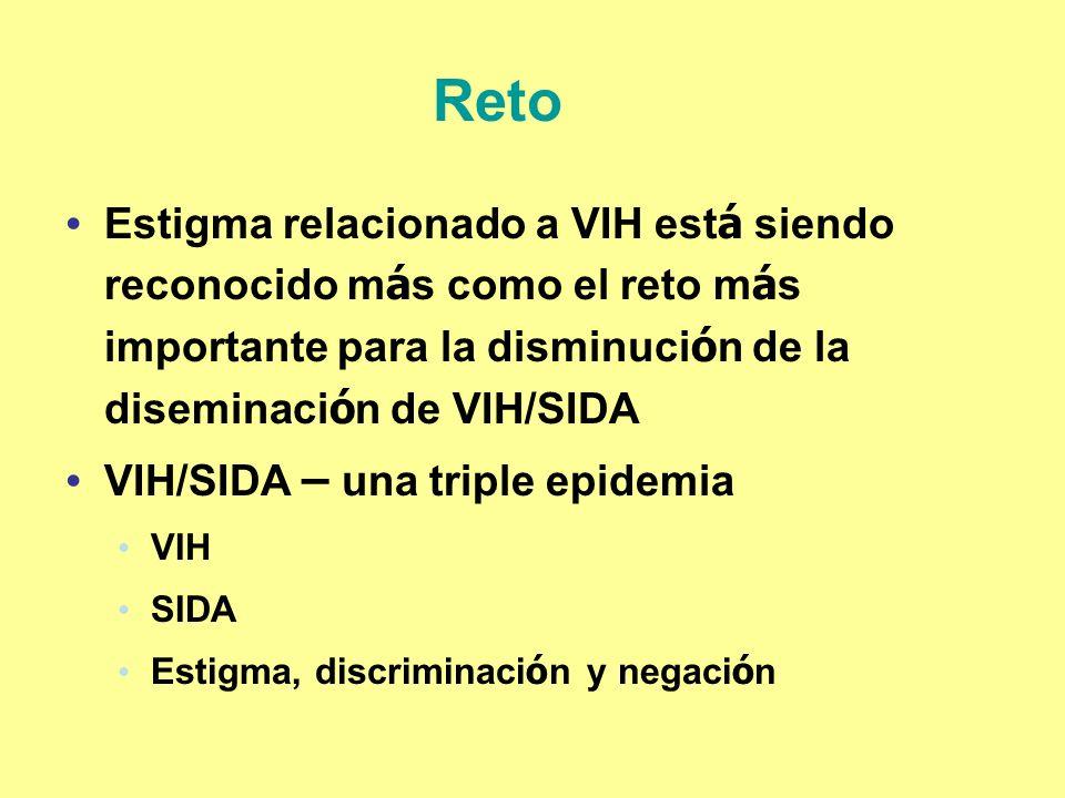Reto Estigma relacionado a VIH está siendo reconocido más como el reto más importante para la disminución de la diseminación de VIH/SIDA.