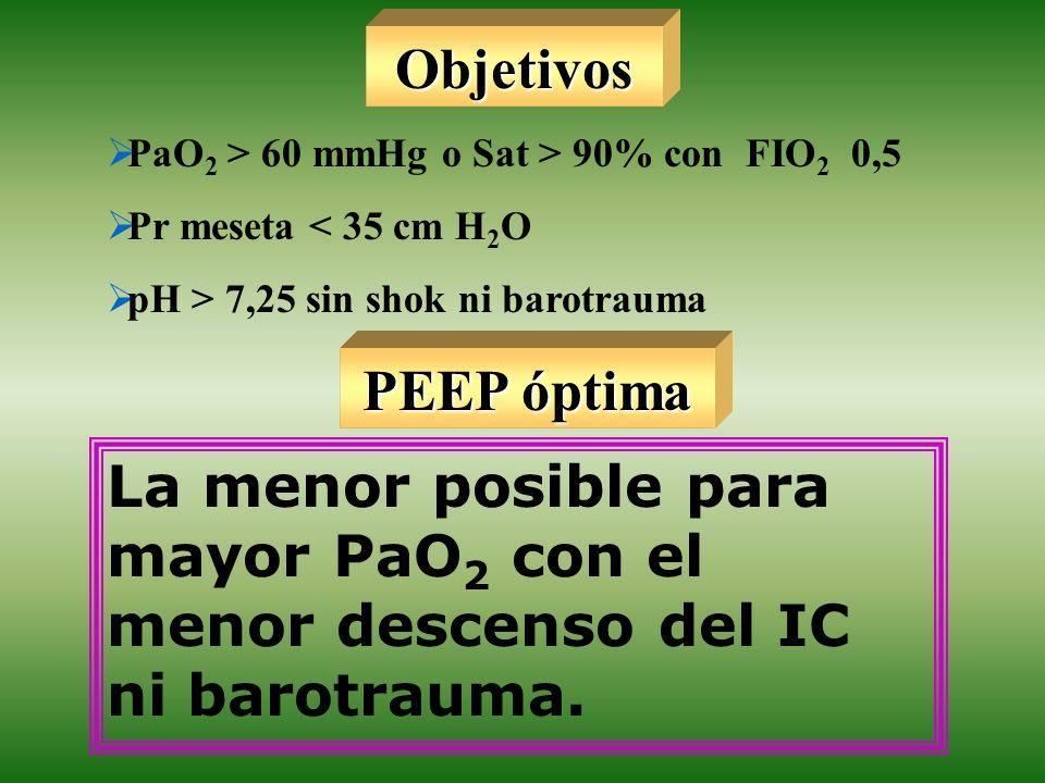 Objetivos PaO2 > 60 mmHg o Sat > 90% con FIO2 0,5. Pr meseta < 35 cm H2O. pH > 7,25 sin shok ni barotrauma.