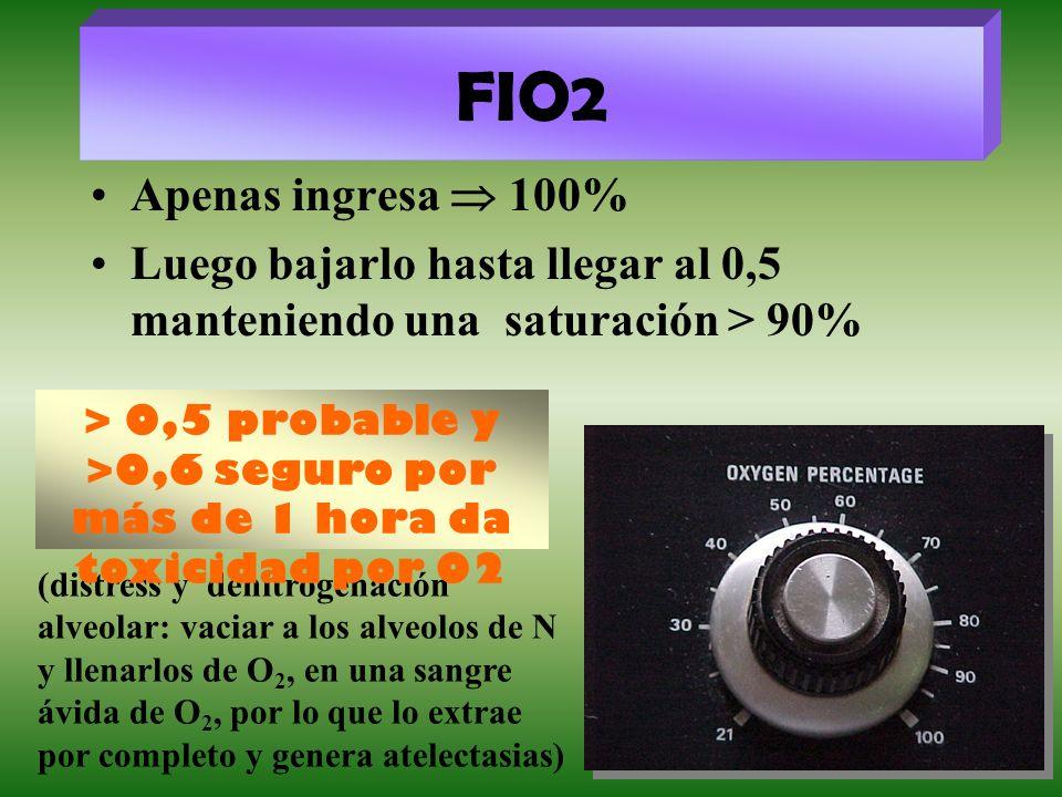 FIO2Apenas ingresa  100% Luego bajarlo hasta llegar al 0,5 manteniendo una saturación > 90%