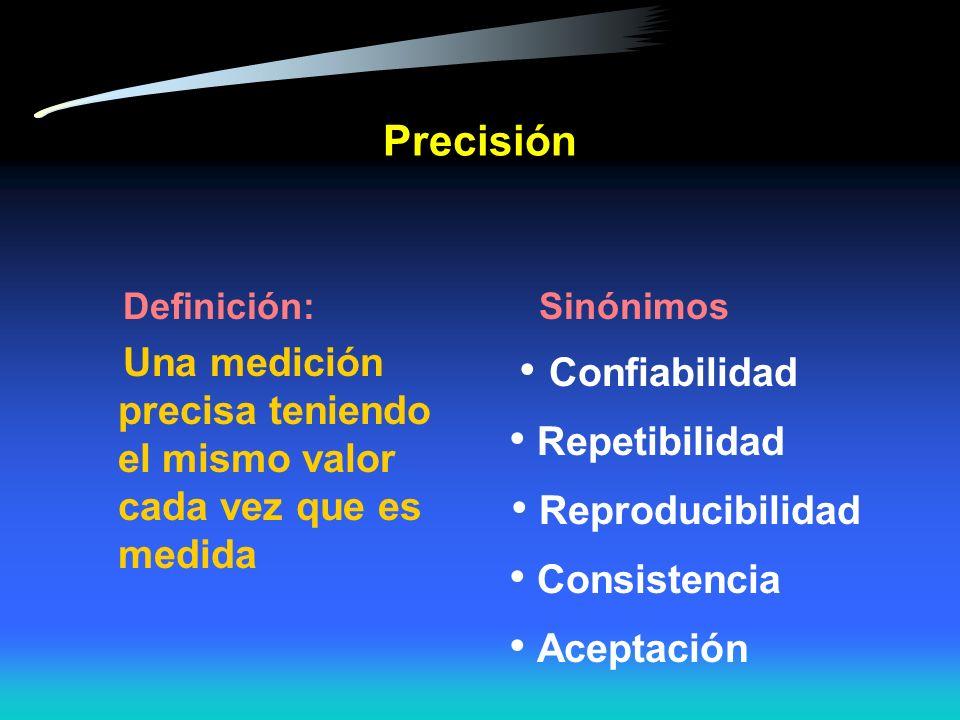 • Reproducibilidad Precisión • Repetibilidad • Consistencia