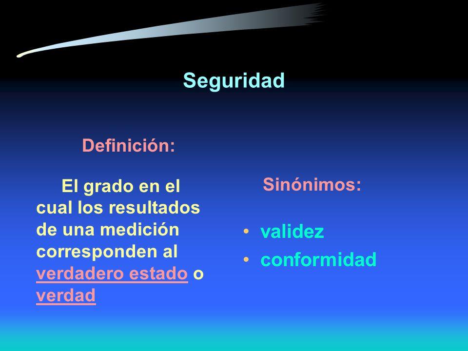 Seguridad validez conformidad Definición: