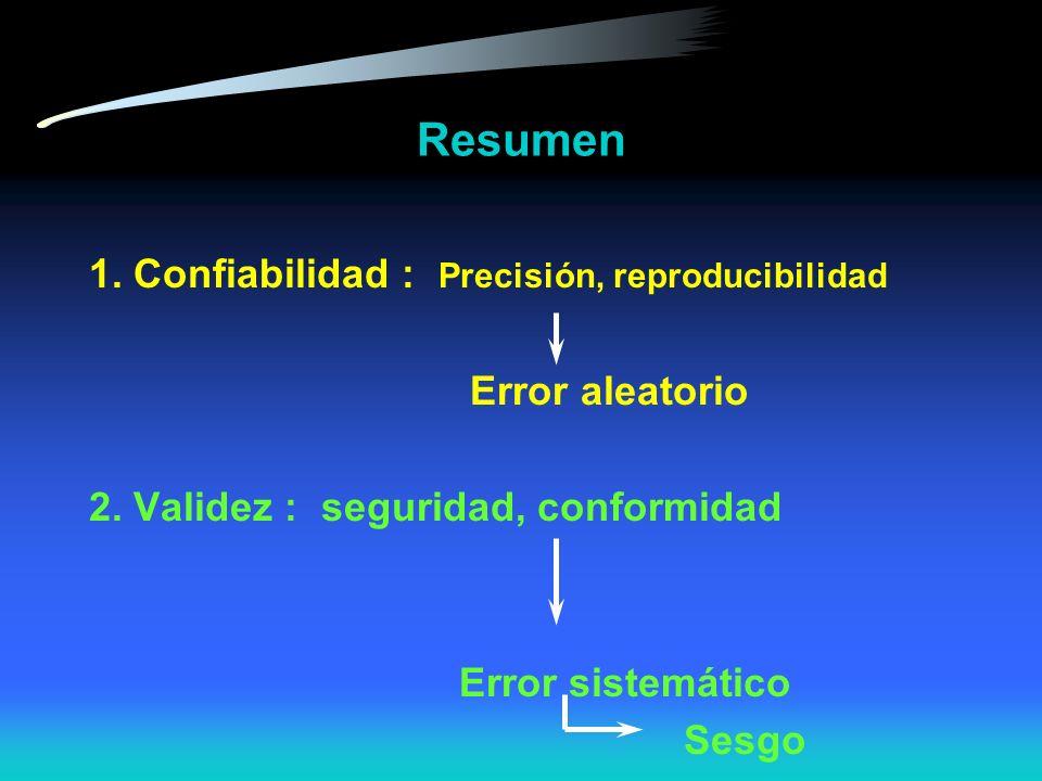 Resumen 1. Confiabilidad : Precisión, reproducibilidad Error aleatorio