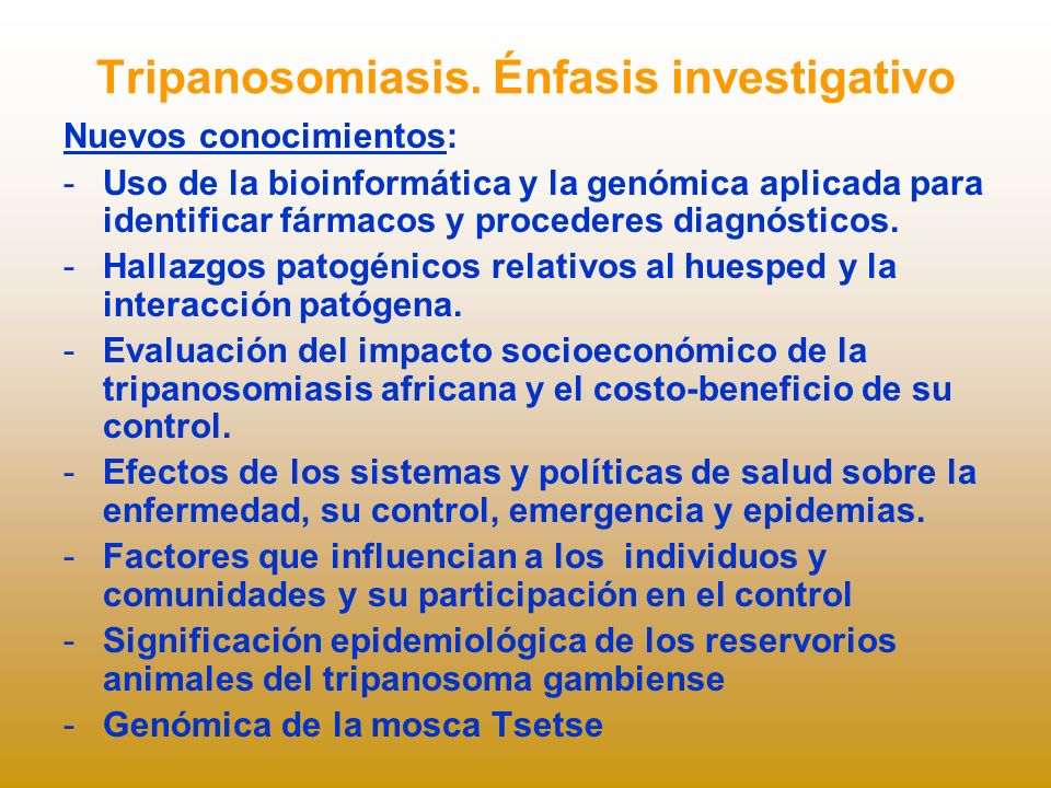 Tripanosomiasis. Énfasis investigativo