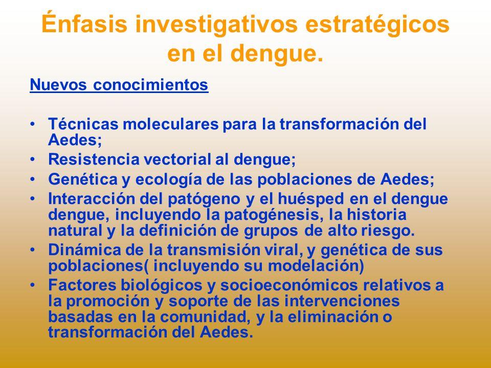 Énfasis investigativos estratégicos en el dengue.