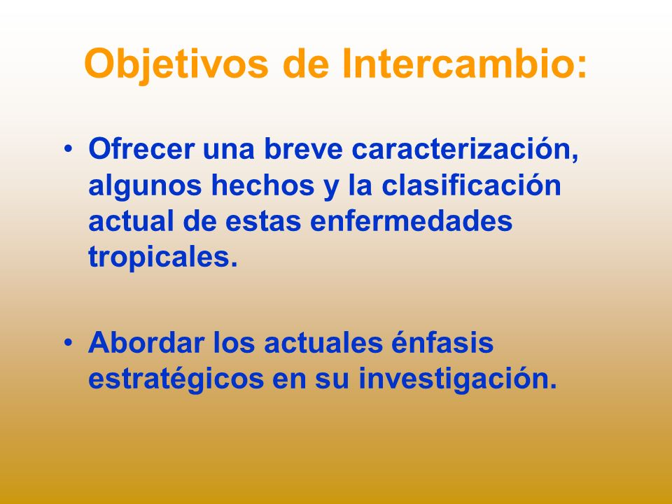 Objetivos de Intercambio: