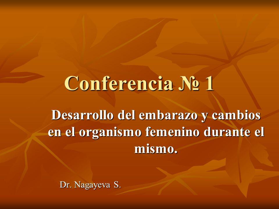Conferencia № 1 Desarrollo del embarazo y cambios en el organismo femenino durante el mismo. Dr. Nagayeva S.