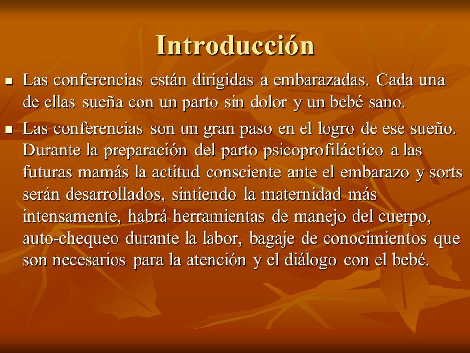Introducción Las conferencias están dirigidas a embarazadas. Cada una de ellas sueña con un parto sin dolor y un bebé sano.