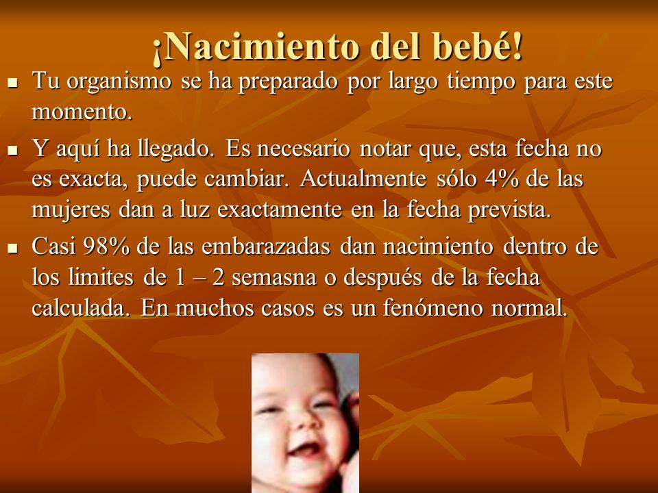 ¡Nacimiento del bebé! Tu organismo se ha preparado por largo tiempo para este momento.
