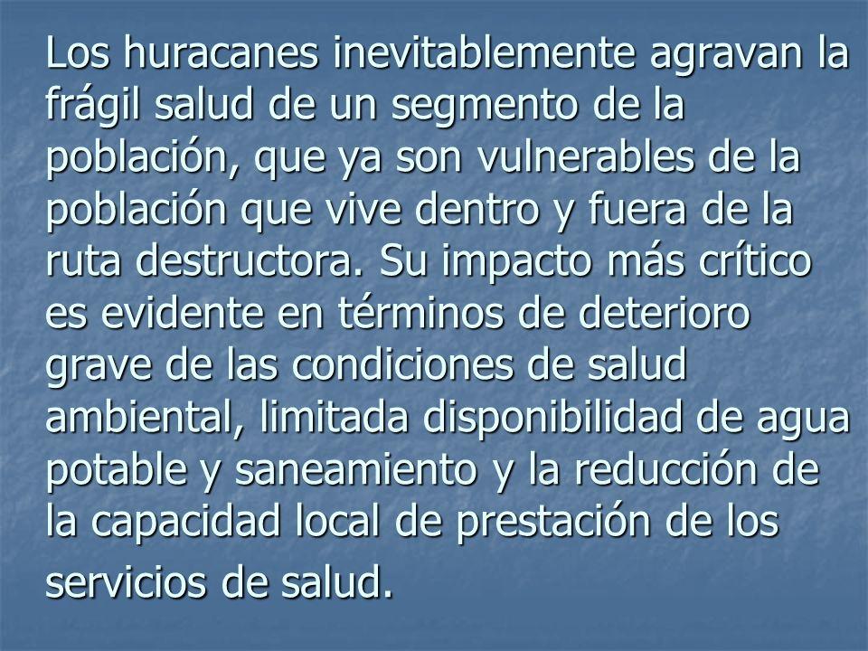 Los huracanes inevitablemente agravan la frágil salud de un segmento de la población, que ya son vulnerables de la población que vive dentro y fuera de la ruta destructora.
