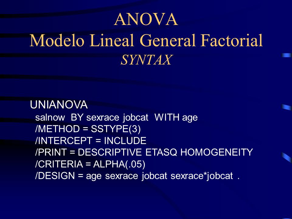 ANOVA Modelo Lineal General Factorial SYNTAX