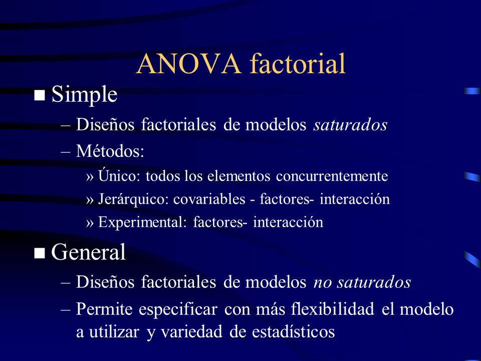 ANOVA factorial Simple General