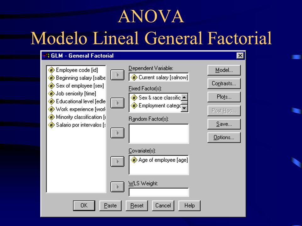 ANOVA Modelo Lineal General Factorial