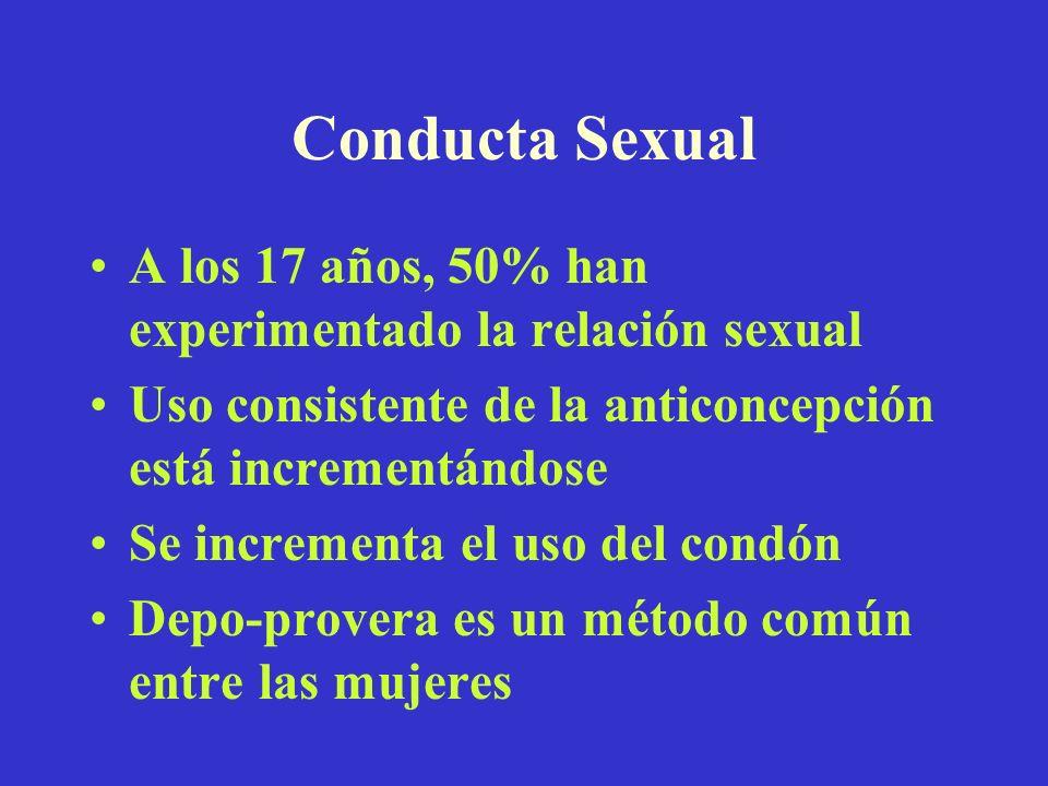 Conducta Sexual A los 17 años, 50% han experimentado la relación sexual. Uso consistente de la anticoncepción está incrementándose.