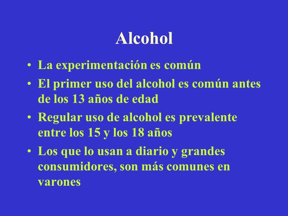 Alcohol La experimentación es común