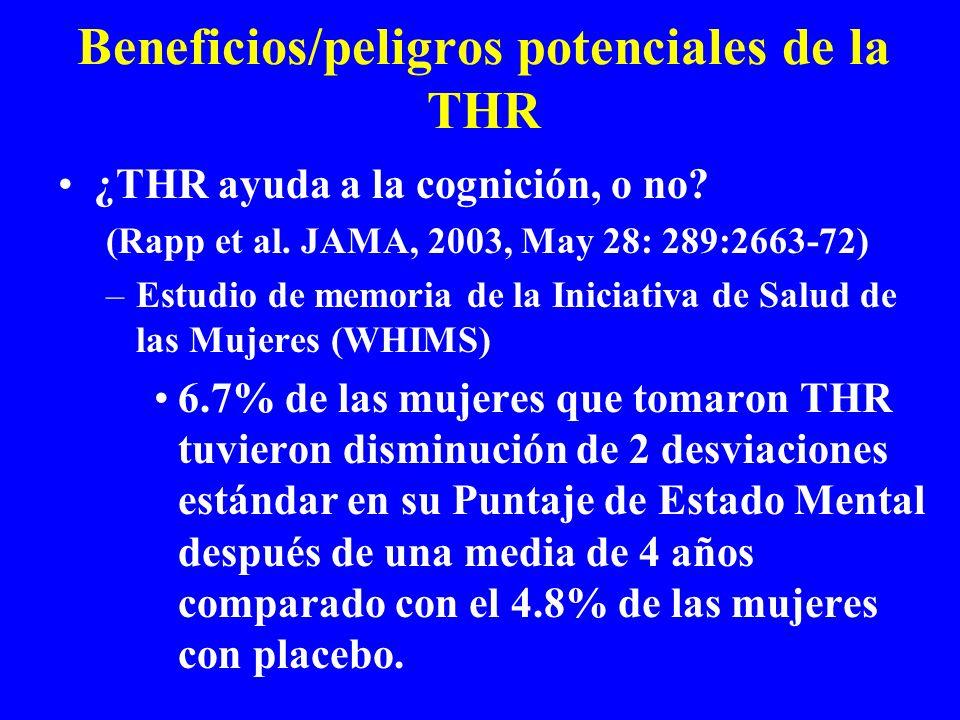 Beneficios/peligros potenciales de la THR
