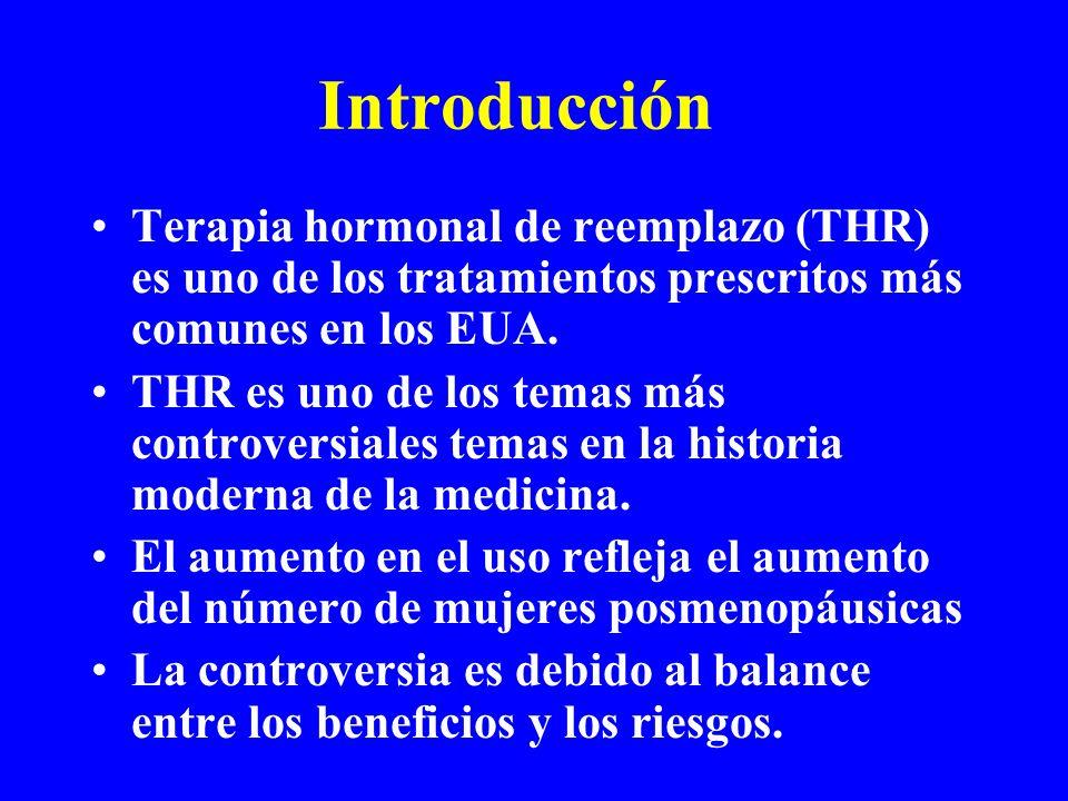 Introducción Terapia hormonal de reemplazo (THR) es uno de los tratamientos prescritos más comunes en los EUA.