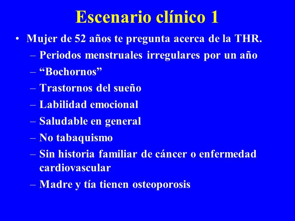 Escenario clínico 1 Mujer de 52 años te pregunta acerca de la THR.