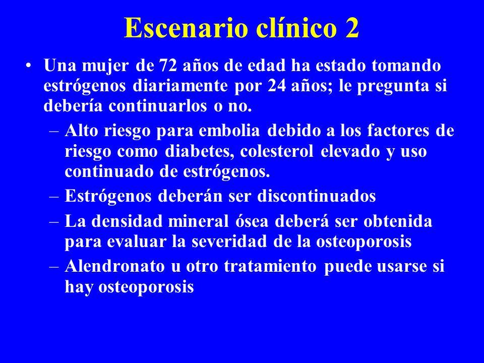 Escenario clínico 2 Una mujer de 72 años de edad ha estado tomando estrógenos diariamente por 24 años; le pregunta si debería continuarlos o no.