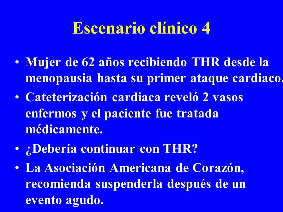 Escenario clínico 4 Mujer de 62 años recibiendo THR desde la menopausia hasta su primer ataque cardiaco.