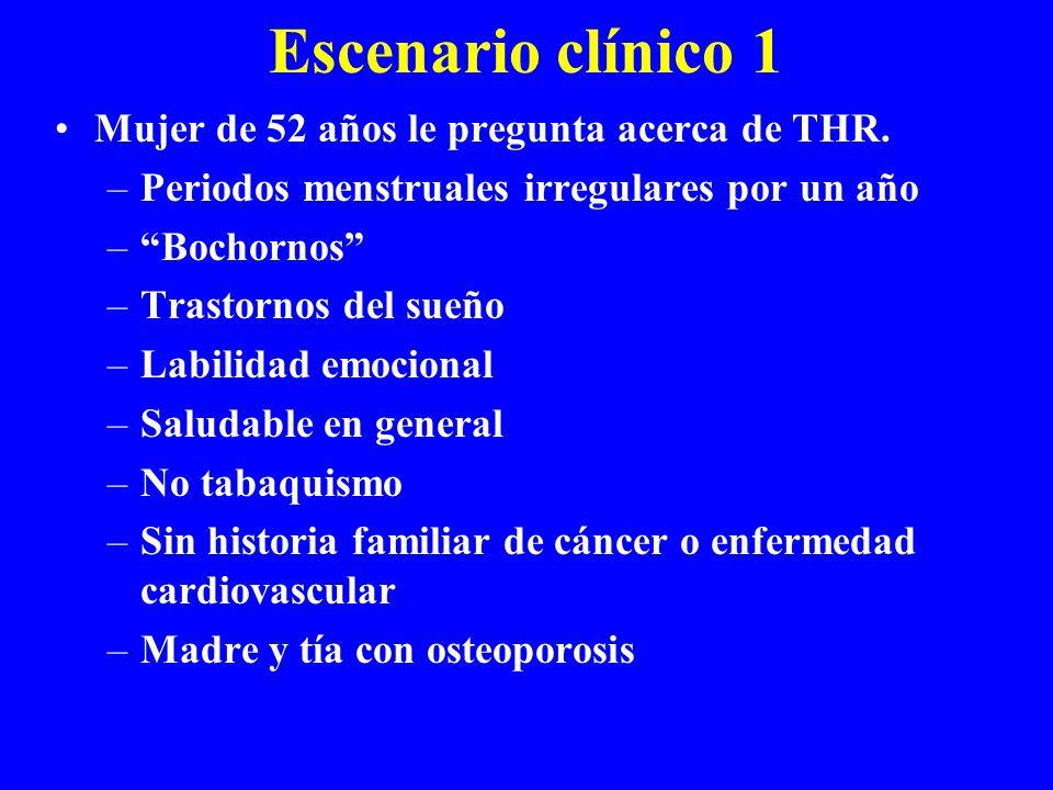 Escenario clínico 1 Mujer de 52 años le pregunta acerca de THR.