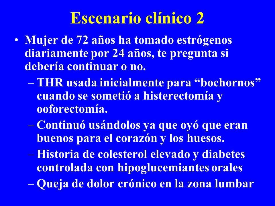 Escenario clínico 2 Mujer de 72 años ha tomado estrógenos diariamente por 24 años, te pregunta si debería continuar o no.