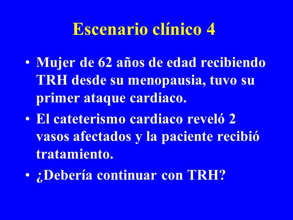 Escenario clínico 4 Mujer de 62 años de edad recibiendo TRH desde su menopausia, tuvo su primer ataque cardiaco.