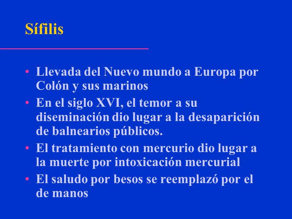 Sífilis Llevada del Nuevo mundo a Europa por Colón y sus marinos