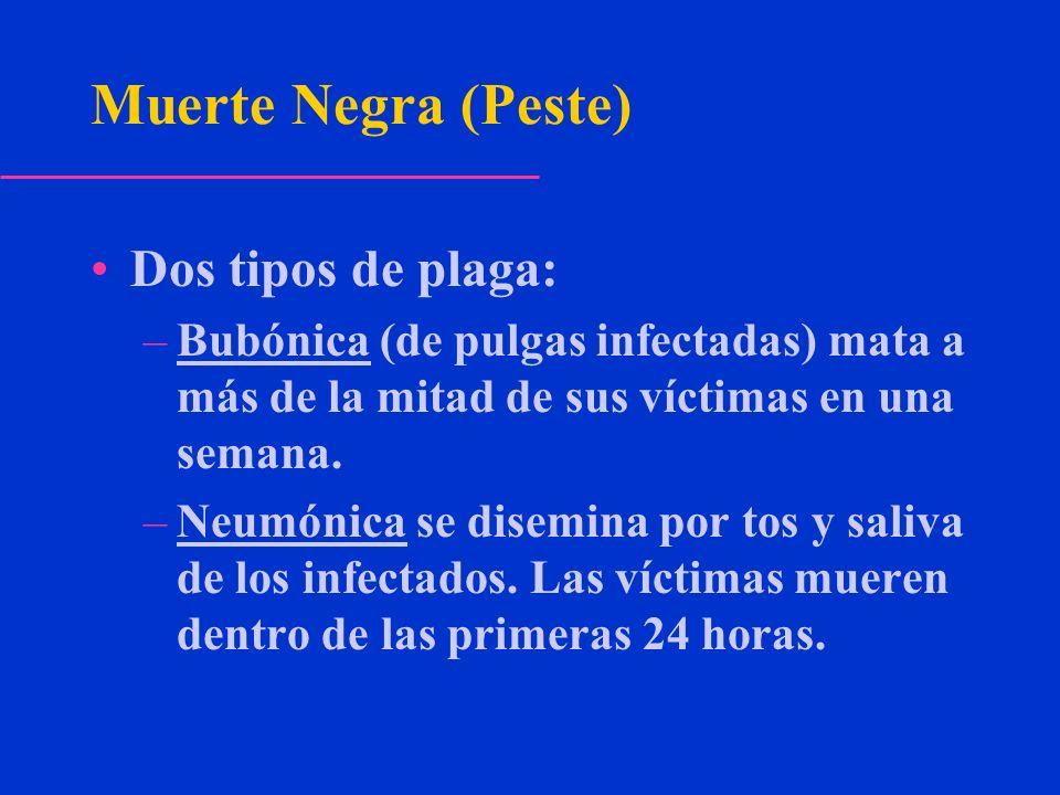 Muerte Negra (Peste) Dos tipos de plaga: