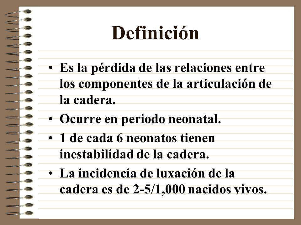 DefiniciónEs la pérdida de las relaciones entre los componentes de la articulación de la cadera. Ocurre en periodo neonatal.