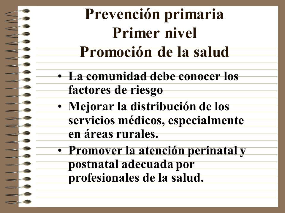 Prevención primaria Primer nivel Promoción de la salud
