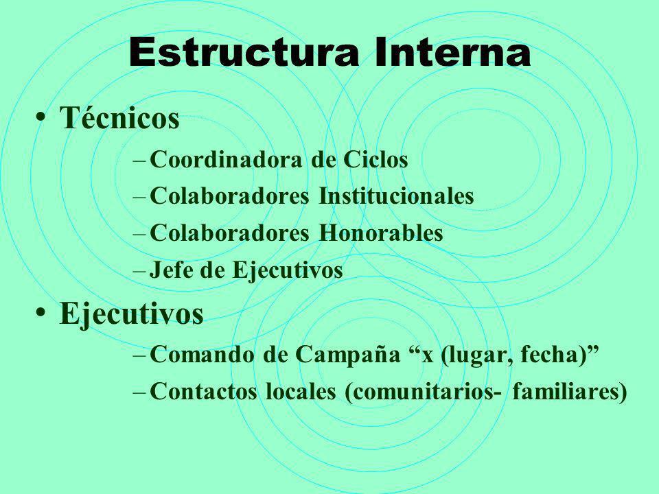 Estructura Interna Técnicos Ejecutivos Coordinadora de Ciclos