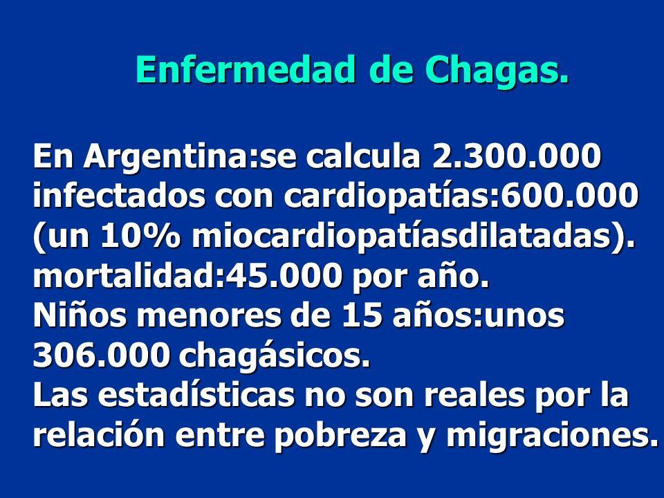 Enfermedad de Chagas. En Argentina:se calcula 2.300.000 infectados con cardiopatías:600.000 (un 10% miocardiopatíasdilatadas).