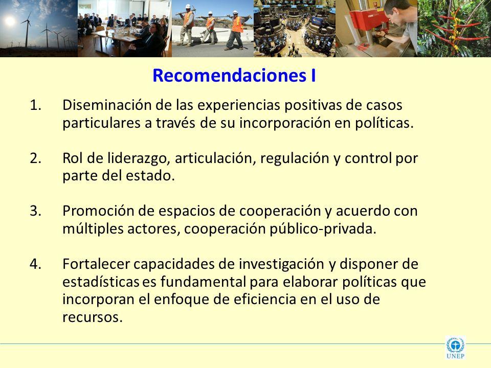 Recomendaciones I Diseminación de las experiencias positivas de casos particulares a través de su incorporación en políticas.