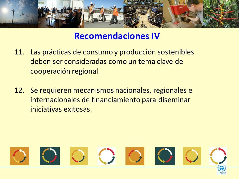 Recomendaciones IV Las prácticas de consumo y producción sostenibles deben ser consideradas como un tema clave de cooperación regional.