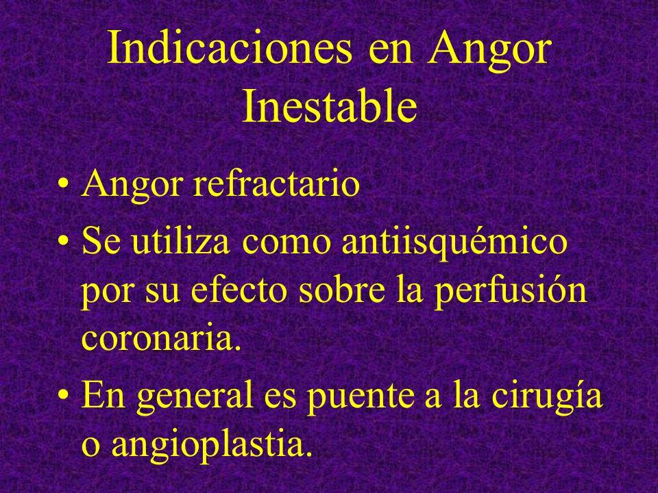 Indicaciones en Angor Inestable