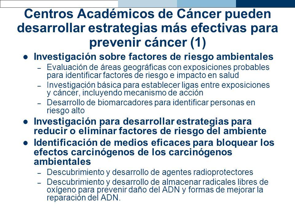 Centros Académicos de Cáncer pueden desarrollar estrategias más efectivas para prevenir cáncer (1)