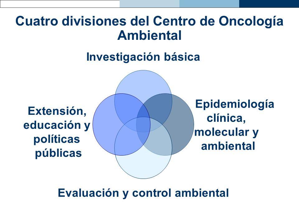 Cuatro divisiones del Centro de Oncología Ambiental