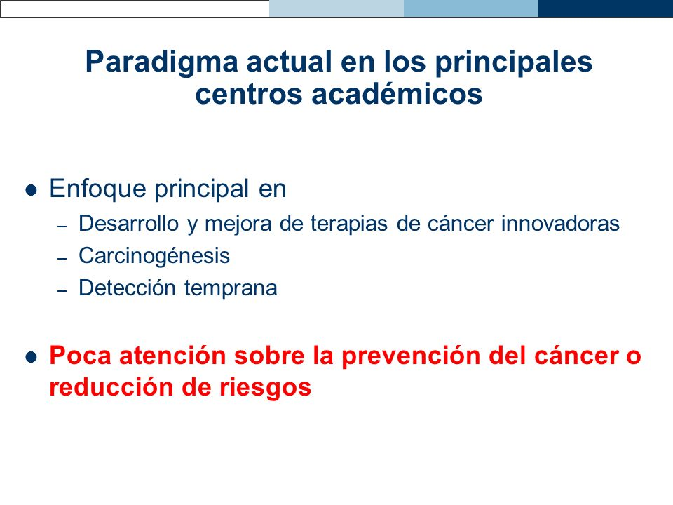 Paradigma actual en los principales centros académicos