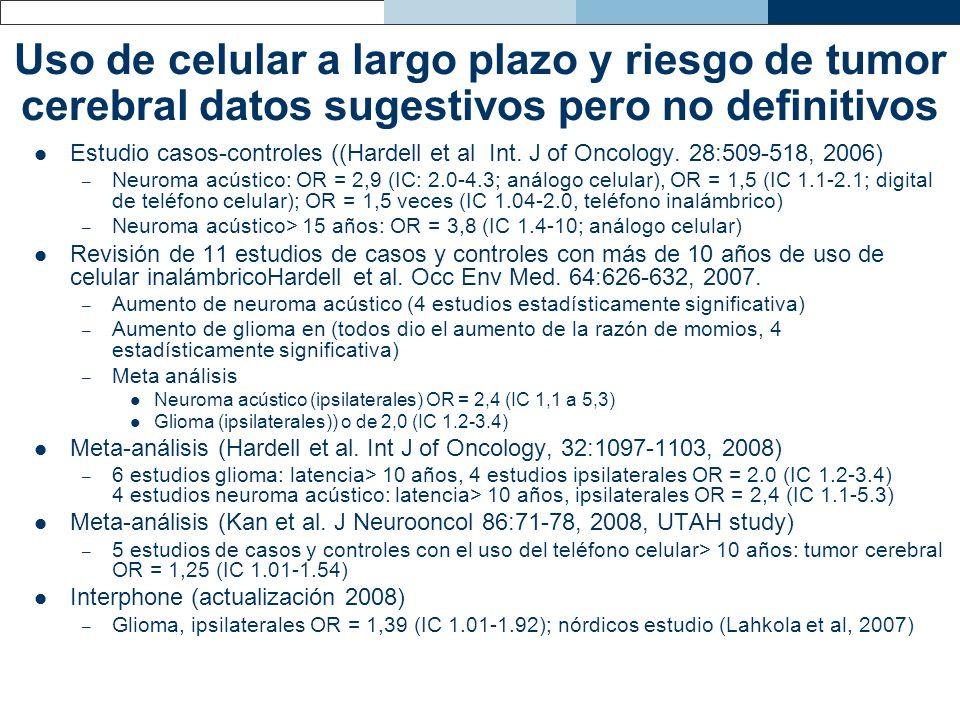 Uso de celular a largo plazo y riesgo de tumor cerebral datos sugestivos pero no definitivos