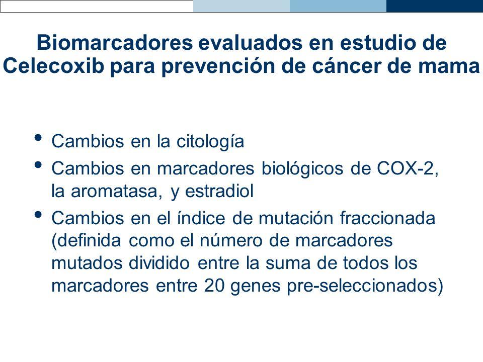 Biomarcadores evaluados en estudio de Celecoxib para prevención de cáncer de mama