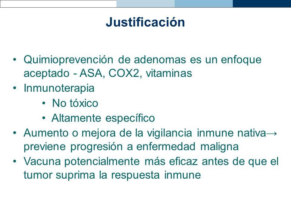 JustificaciónQuimioprevención de adenomas es un enfoque aceptado - ASA, COX2, vitaminas. Inmunoterapia.