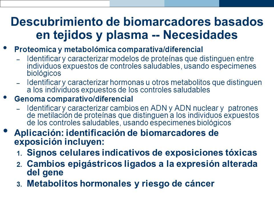 Descubrimiento de biomarcadores basados en tejidos y plasma -- Necesidades