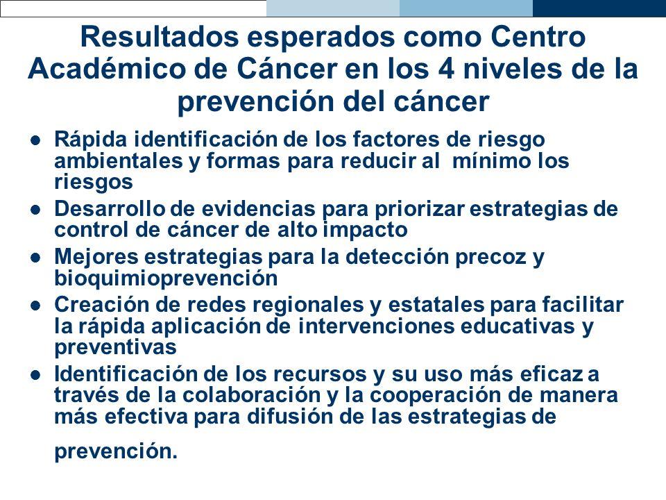 Resultados esperados como Centro Académico de Cáncer en los 4 niveles de la prevención del cáncer