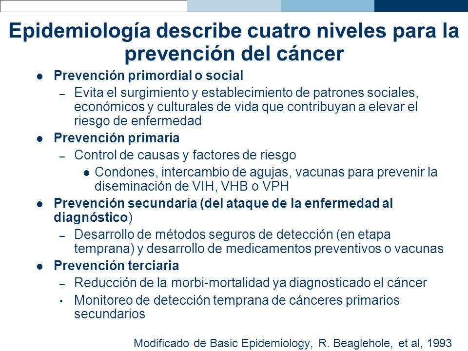 Epidemiología describe cuatro niveles para la prevención del cáncer