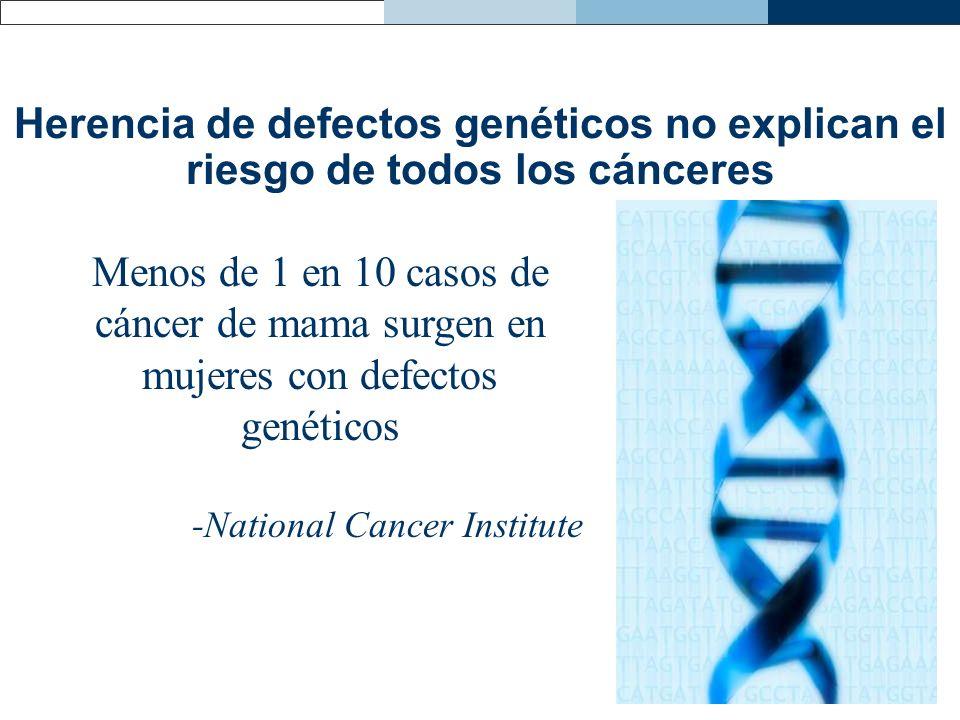 Herencia de defectos genéticos no explican el riesgo de todos los cánceres