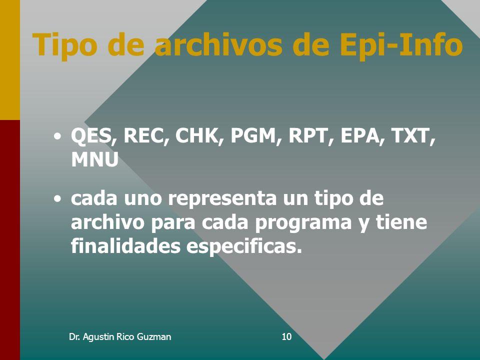Tipo de archivos de Epi-Info