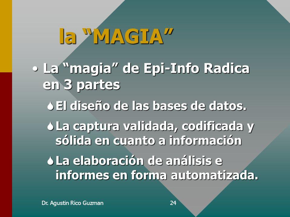 la MAGIA La magia de Epi-Info Radica en 3 partes