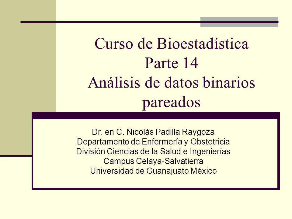 Curso de Bioestadística Parte 14 Análisis de datos binarios pareados