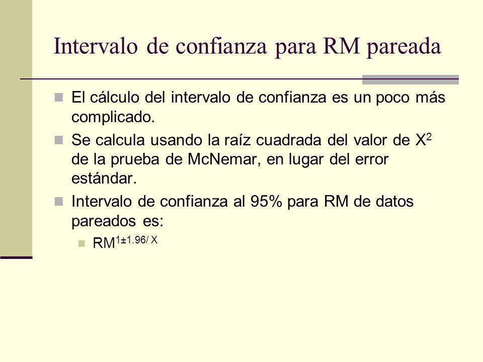 Intervalo de confianza para RM pareada