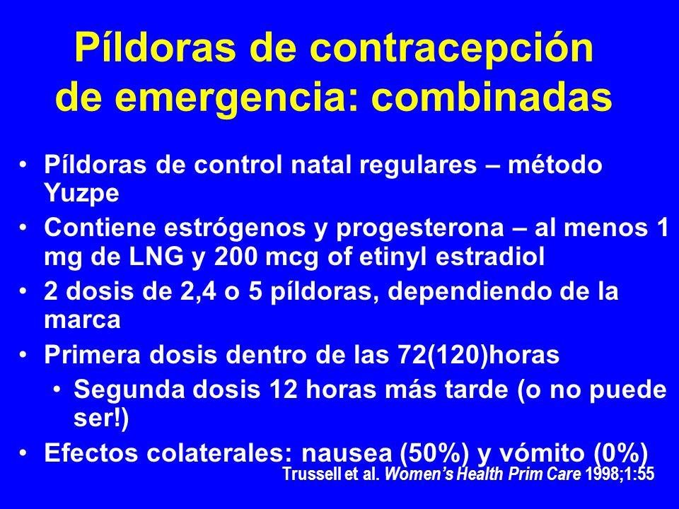 Píldoras de contracepción de emergencia: combinadas